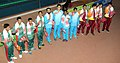 Gold medal winners of India, Silver medal winners Sri Lanka and Bangladesh are the Bronze medal winners of Men's, 4x100m Medley in Swimming, at the 12th South Asian Games-2016, in Guwahati on February 10, 2016.jpg