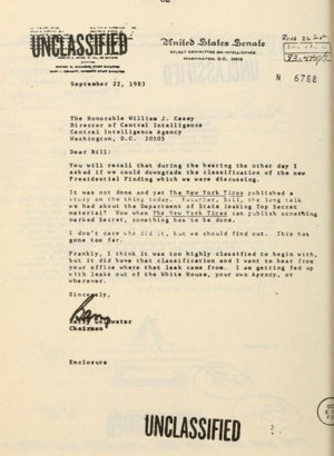 Classified information in the United States - Senator Barry Goldwater reprimanding CIA director William J. Casey for Secret info showing up in The New York Times, but then saying it was over-classified to begin with. 1983