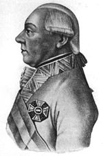 Black and white print of a man in a white military uniform with the Maria Theresa Order cross displayed. He wears a late 18th century wig