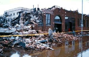 Grand Forks Herald - The remains of the former Herald building after it was destroyed by fire and floodwater