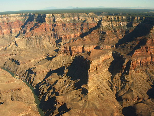 The Grand Canyon is an incision through a number of layers of sedimentary rocks. Grand Canyon.jpg