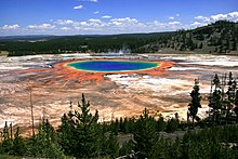Grand Prismatic Spring and Midway Geyser Basin in Yellowstone National Park
