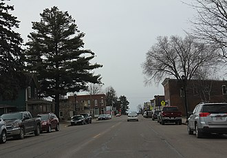 Greenwood, Wisconsin - Looking south in downtown Greenwood on WIS73