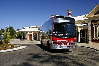 Greyhound Australia - Mills-Tui bodied Scania K380IB at Wagga Wagga station in March 2009