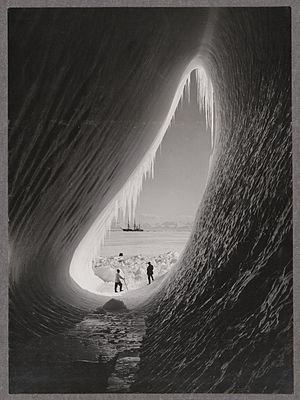 Iceberg - Grotto in an iceberg, photographed during the British Antarctic Expedition of 1911–1913, 5 Jan 1911. Photographer: Herbert Ponting, Alexander Turnbull Library