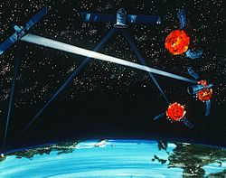 An artist's concept of a ground / space-based hybrid laser weapon, 1984.