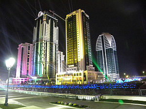 Caucasus - Image: Grozny City Towers Facade Clocks