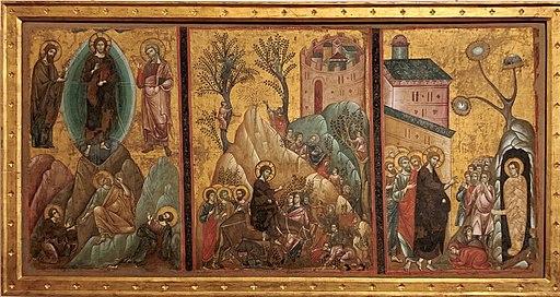 Guido da siena, Trasfigurazione, entrata di Cristo a Gerusalemme e resurrezione di Lazzaro