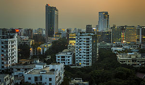 Skyline of Dhaka at twilight
