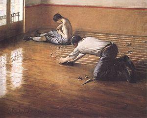 Les raboteurs de parquet - 1876 version of the same subject by Caillebotte