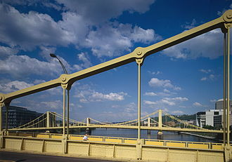 Three Sisters (Pittsburgh) - View of Sixth, Seventh and Ninth Street Bridges from downriver