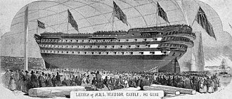 HMS Duke of Wellington (1852) - An 1852 print from the Illustrated London News of HMS Windsor Castle  on the slipway on the day of her launch that year. The ship later was renamed HMS Duke of Wellington.
