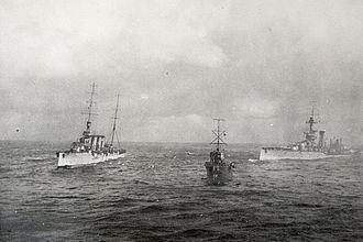 HMS Audacious (1912) - Liverpool (left) and Fury (centre), in combination with Olympic, try to take Audacious in tow (View from Olympic)