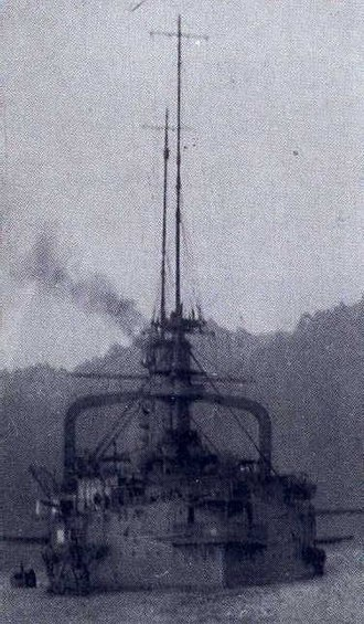 HMS Triumph (1903) - Triumph firing at German positions at Tsingtao, China, in October 1914