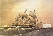 Painting of a three-masted ship sailing in the ocean