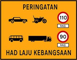 National Speed Limits (Malaysia) - National speed limit reminder (Type 3)