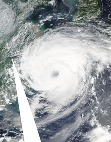 "Satellite photo of storm, with well-defined ""eye"""