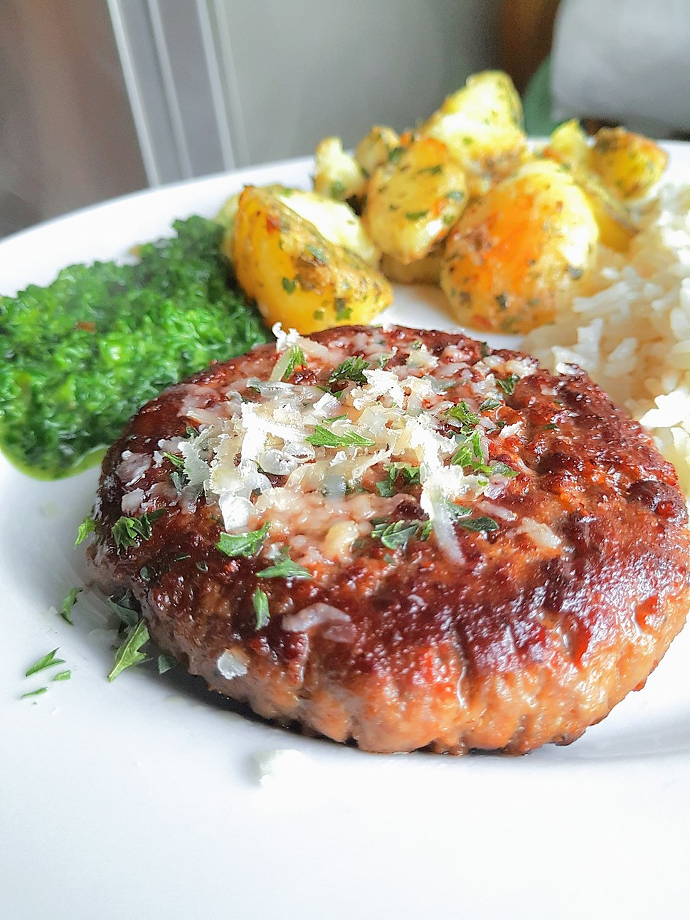 Hamburger - veggies - potato - parmesan cheese food