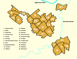 Labelled map of the 22 Suburbs that make up Hastings City Hastings, New Zealand numbered suburbs map.png