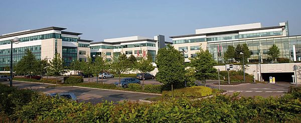 View of one of the buildings at Hatfield Business Park, currently the headquarters of EE
