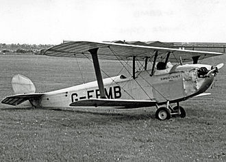 Hawker Cygnet - The surviving Cygnet on display in airworthy condition at Coventry Airport in 1954