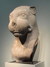 Head of a lion, from gateway pillar at the Amaravati Stupa, Amaravati, Andhra Pradesh, India, Satavahana dynasty, 2nd century AD, limestone - Freer Gallery of Art - DSC05130