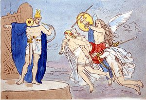 Einherjar - An illustration of valkyries encountering the god Heimdallr as they carry a dead man to Valhalla (1906) by Lorenz Frølich.