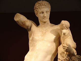 Hermes and the Infant Dionysus - Head of the Hermes figure, remarkable for its highly polished finish