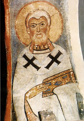 A Greek fresco of Athanasius of Alexandria, the chief architect of the Nicene Creed, formulated at Nicaea. Hierarch panagia episcopi cropped.jpg