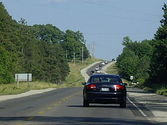 Ontario Highway 6 - Highway 6 looking south near Wiarton.