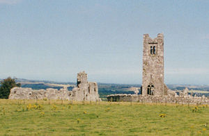 Slane - Ruins on the hill of Slane, facing East.
