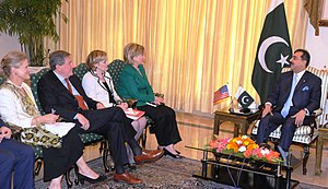 Hillary Clinton's tenure as Secretary of State - Clinton with Pakistani Prime Minister Yousaf Raza Gillani during an October 2009 visit to Islamabad.