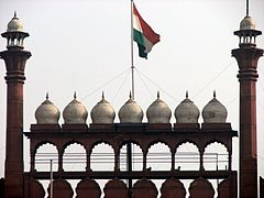 The national flag of India hoisted on a wall adorned with domes and minarets