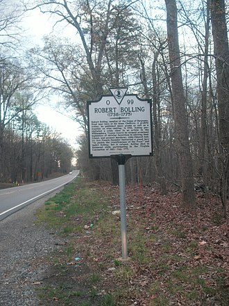 National Register of Historic Places listings in Buckingham County, Virginia - Image: Historic marker for Chellowe and Robert Bolling