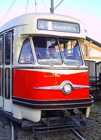 Tatra T2 - Image: Historical Tatra T2 tram in Prague