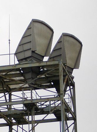 Microwave transmission - C band horn-reflector antennas on the roof of a telephone switching center in Seattle, Washington, part of the U.S. AT&T Long Lines microwave relay network.