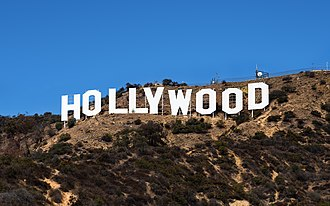 Cinema of the United States - The Hollywood Sign in Hollywood, Los Angeles, California, often regarded as a symbol of the American film industry.