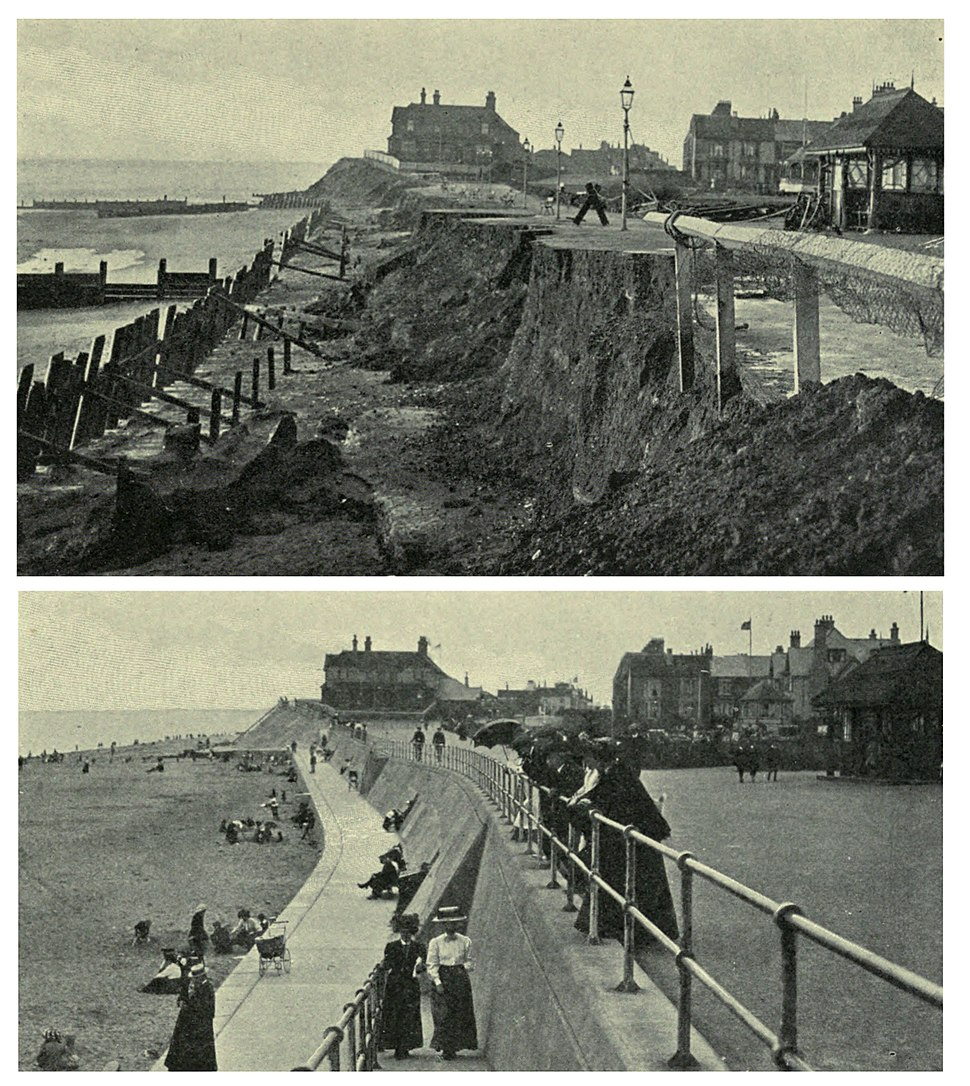Hornsea seafront 1906 after storm and 1910 after construction of sea wall