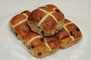 English: Hot cross buns are a quintessentially...