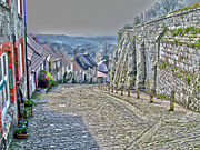 "Gold Hill in Shaftesbury.  Ook bekend as ""Hovis Hill"""