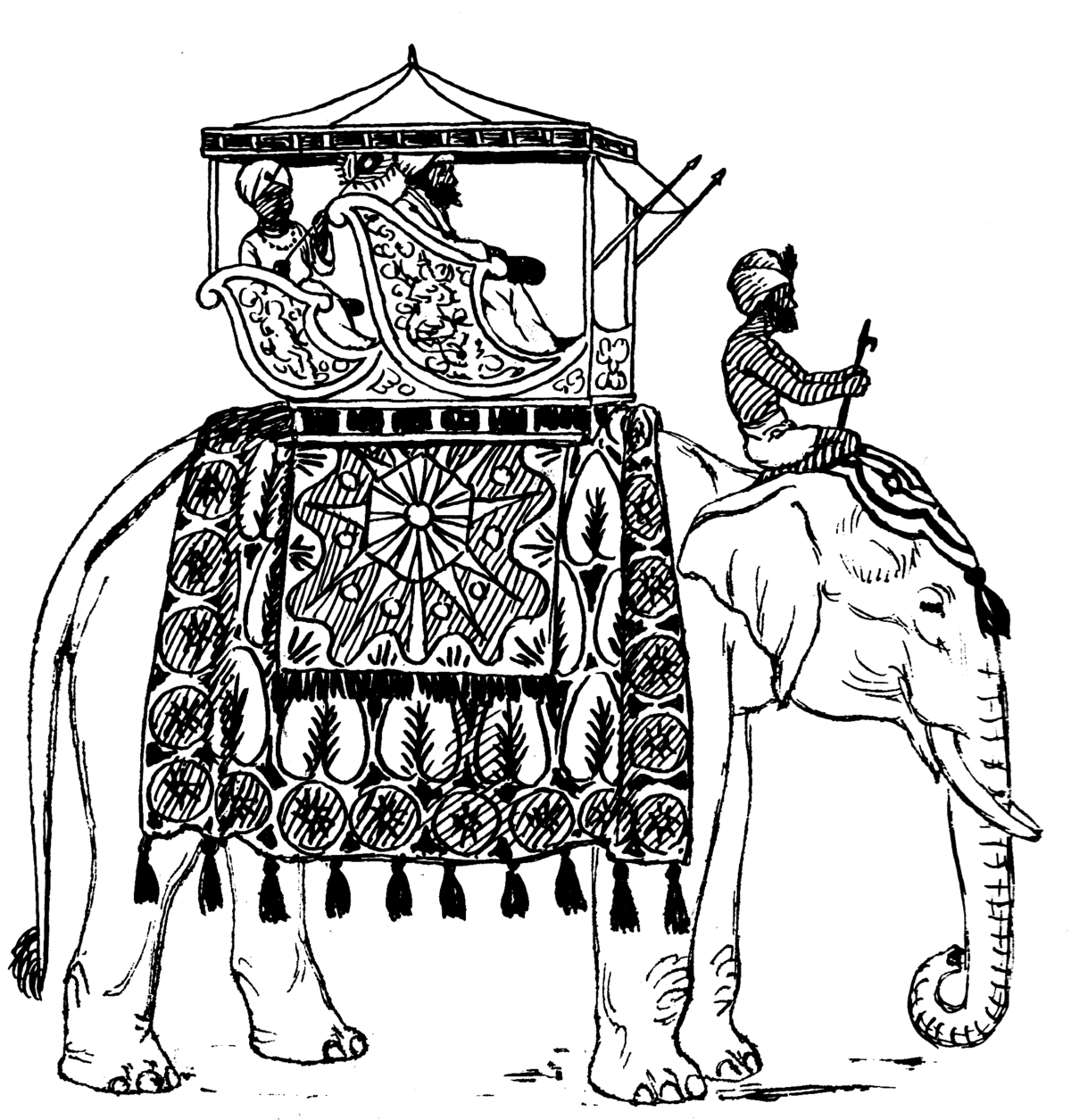 Coloriage A Imprimer Elephant Indien.Howdah Wikipedia