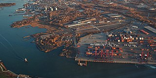 Container port on Staten Island, New York City