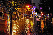 Flooding on Avenue C in Lower Manhattan caused by Hurricane Sandy Hurricane Sandy Flooding Avenue C 2012.JPG