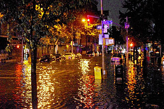 Flooding on Avenue C caused by Hurricane Sandy on October 29, 2012 Hurricane Sandy Flooding Avenue C 2012.JPG