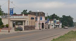 Downtown Hyannis, looking southwest.  Nebraska Highway 2/61 is in the foreground