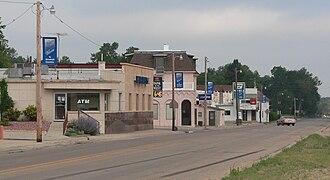Hyannis, Nebraska - Downtown Hyannis, looking southwest.  Nebraska Highway 2/61 is in the foreground