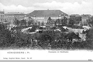 Paradeplatz (Königsberg) - View northeast toward the Stadttheater