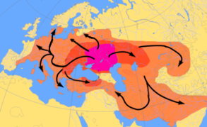 Map of Indo European migrations from ca. 4000 to 1000 BC according to the Kurgan model.  The Anatolian migration (indicated with a dotted arrow) could have taken place either across the Caucasus or across the Balkans.  The purple area corresponds to the assumed Urheimat (Samara culture, Sredny Stog culture). The red area corresponds to the area which may have been settled by Indo-European-speaking peoples up to ca. 2500 BC, and the orange area by 1000 BC.