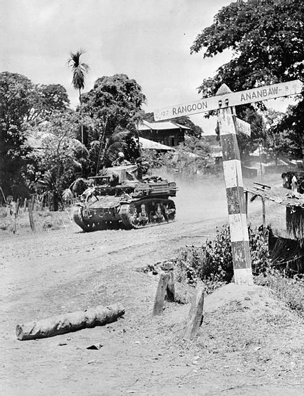 A Stuart light tank of an Indian cavalry regiment during the advance on Rangoon IND 004652 Stuart tank advancing on Rangoon.jpg