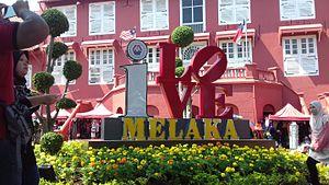 Stadthuys - I Love Melaka letters in front of Stadthuys.